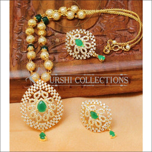 Designer Gold Plated Handmade Necklace Set UC-NEW1000 - Green - Necklace Set