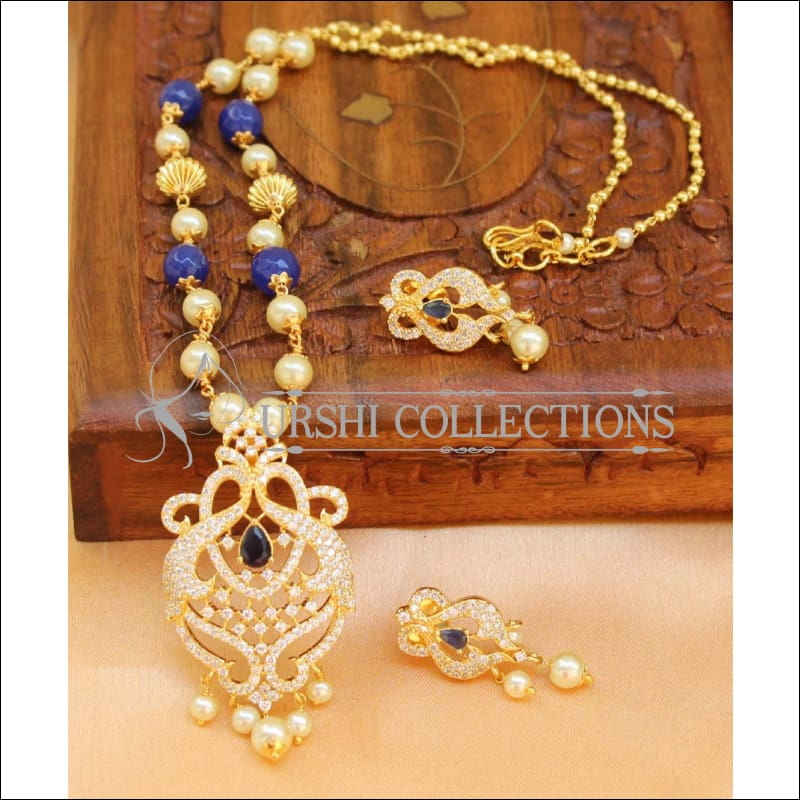 Designer Gold Plated Handmade Necklace Set UC-NEW1026 - Blue - Necklace Set