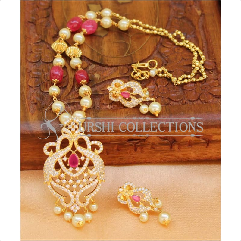 Designer Gold Plated Handmade Necklace Set UC-NEW1026 - Red - Necklace Set