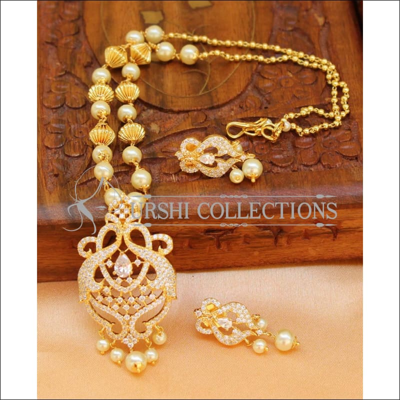 Designer Gold Plated Handmade Necklace Set UC-NEW1026 - White - Necklace Set