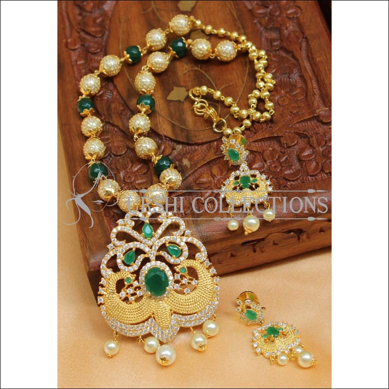 Designer Gold Plated Handmade Necklace Set UC-NEW1030 - Green - Necklace Set