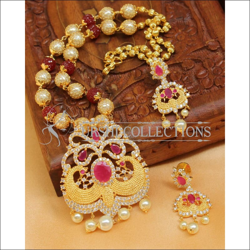 Designer Gold Plated Handmade Necklace Set UC-NEW1030 - Red - Necklace Set