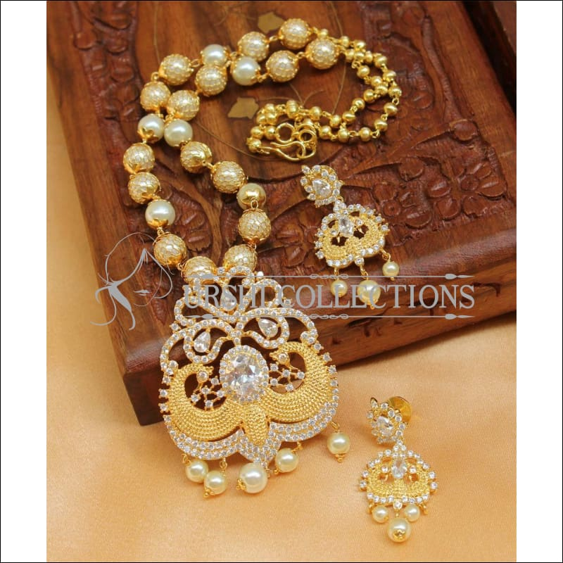 Designer Gold Plated Handmade Necklace Set UC-NEW1030 - White - Necklace Set