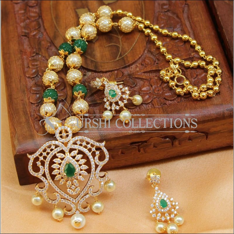 Designer Gold Plated Handmade Necklace Set UC-NEW795 - Green - Necklace Set