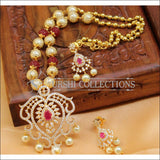 Designer Gold Plated Handmade Necklace Set UC-NEW795 - Red - Necklace Set