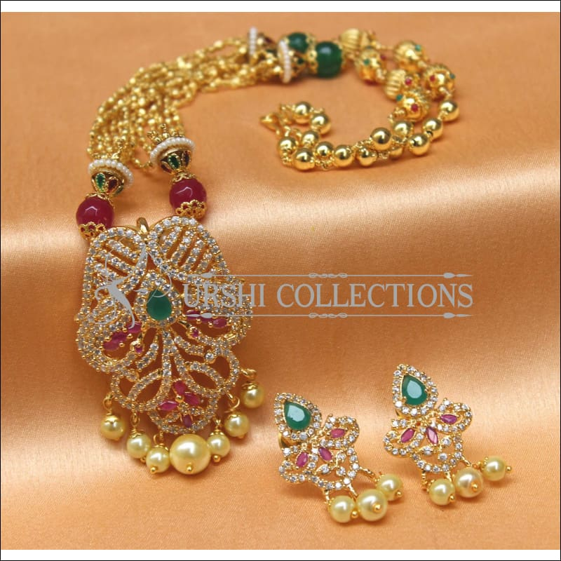 Designer Gold Plated Handmade Peacock Necklace Set UC-NEW1024 - Necklace Set