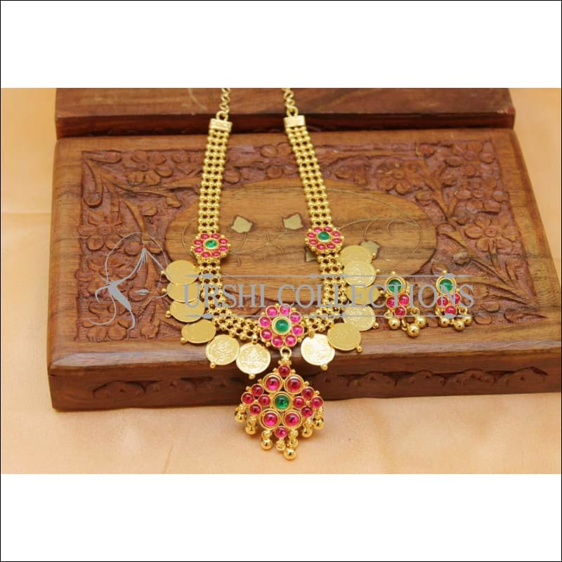 Designer Gold plated Kempu Lakshmi Necklace Set UC-NEW2756 - Necklace Set