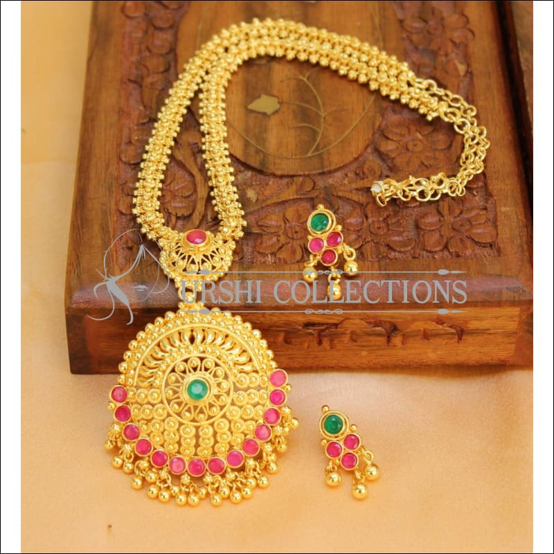 Designer Gold Plated Kempu Necklace Set UC-NEW147 - Necklace Set