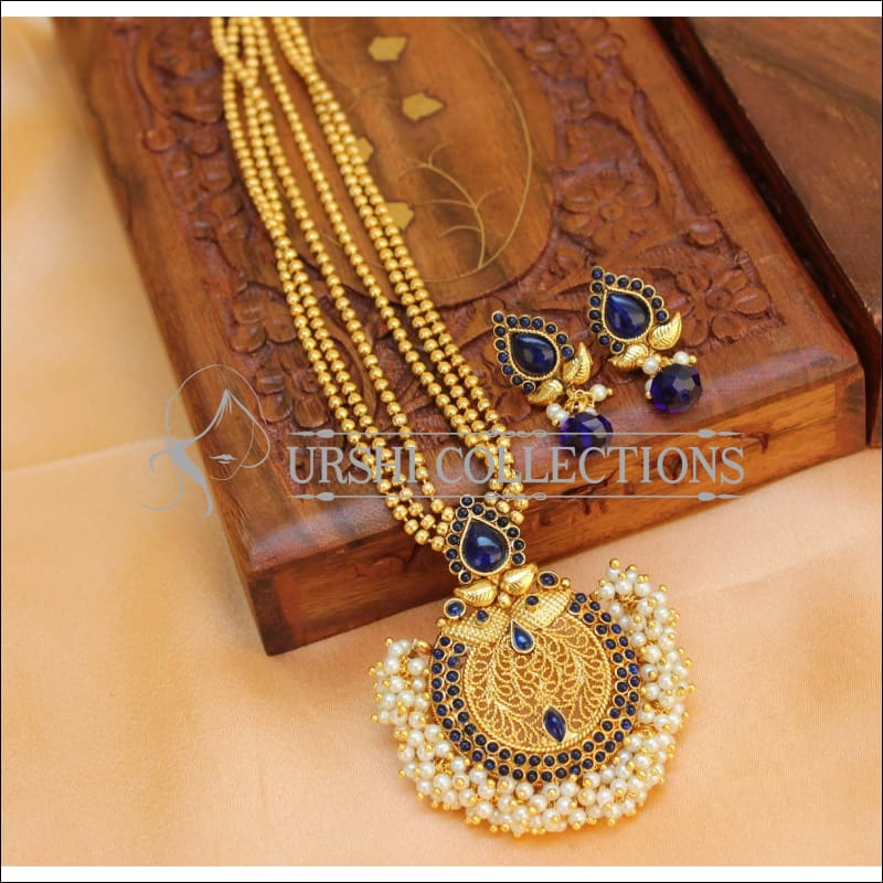 Designer Gold Plated Kempu Necklace Set UC-NEW1861 - Blue - Necklace Set