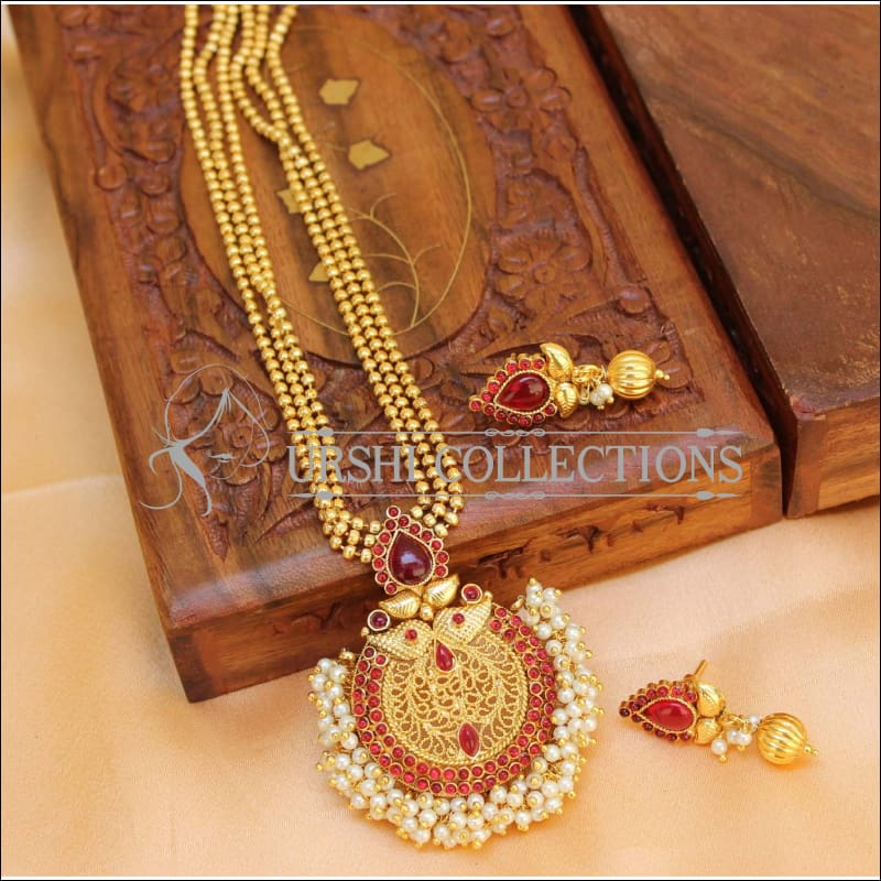 Designer Gold Plated Kempu Necklace Set UC-NEW1861 - Ruby - Necklace Set