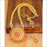 Designer Gold Plated Kempu Necklace Set UC-NEW203 - Pink - Necklace Set