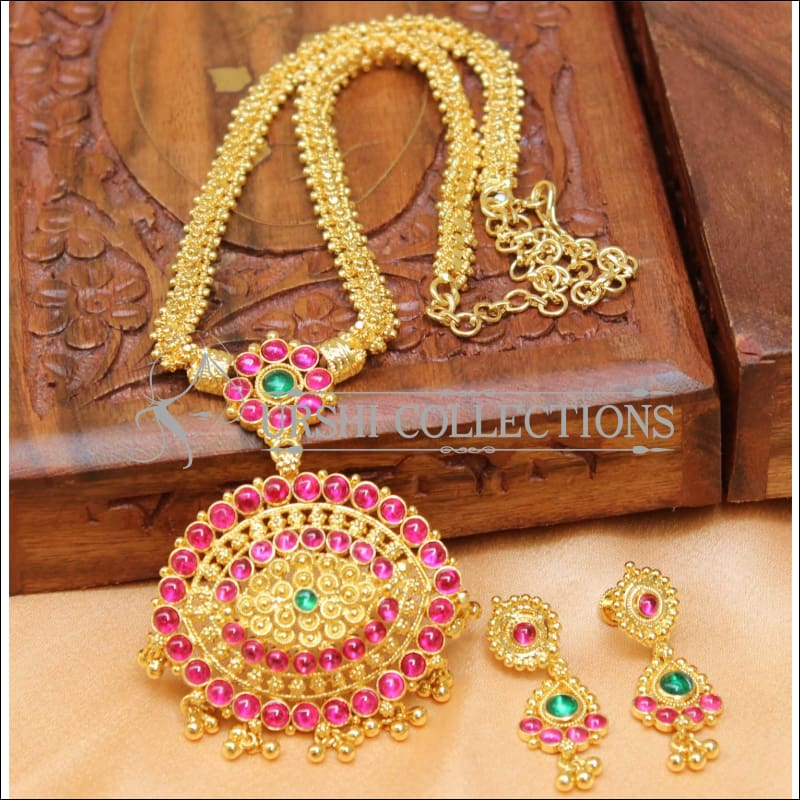 Designer Gold Plated Kempu Necklace Set UC-NEW205 - Necklace Set