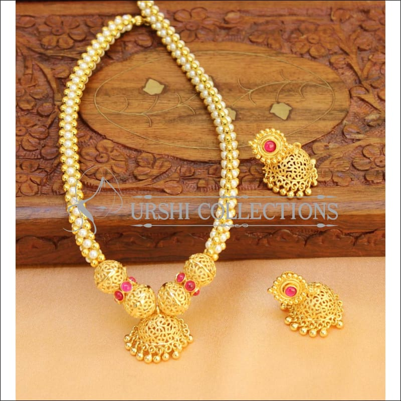 Designer Gold Plated Kempu Necklace Set UC-NEW208 - Necklace Set