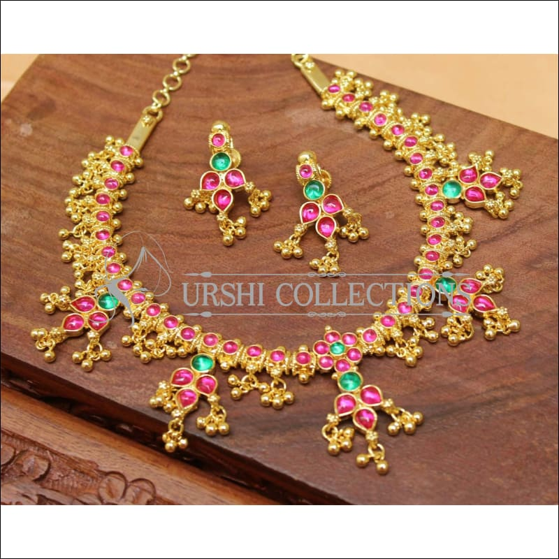Designer Gold Plated Kempu Necklace Set UC-NEW211 - Necklace Set