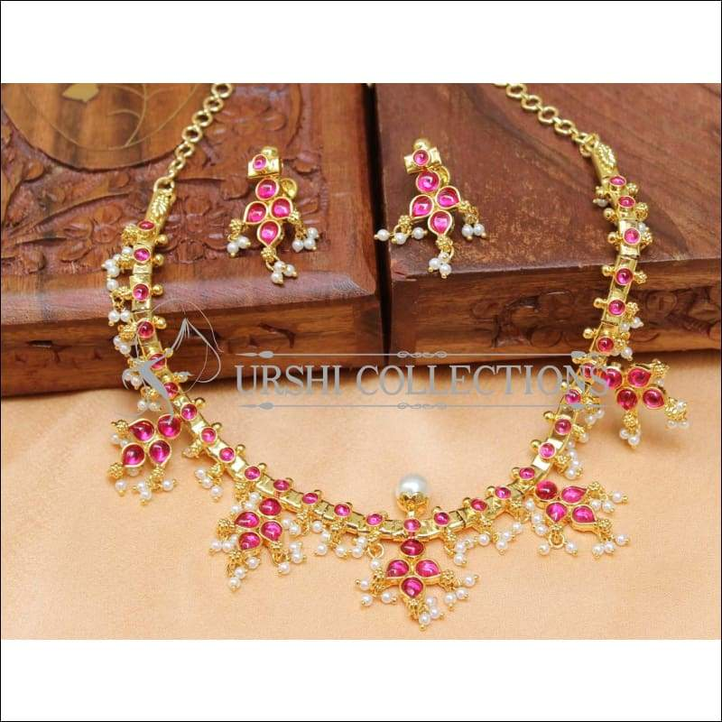 Designer Gold Plated Kempu Necklace Set UC-NEW212 - Pink - Necklace Set
