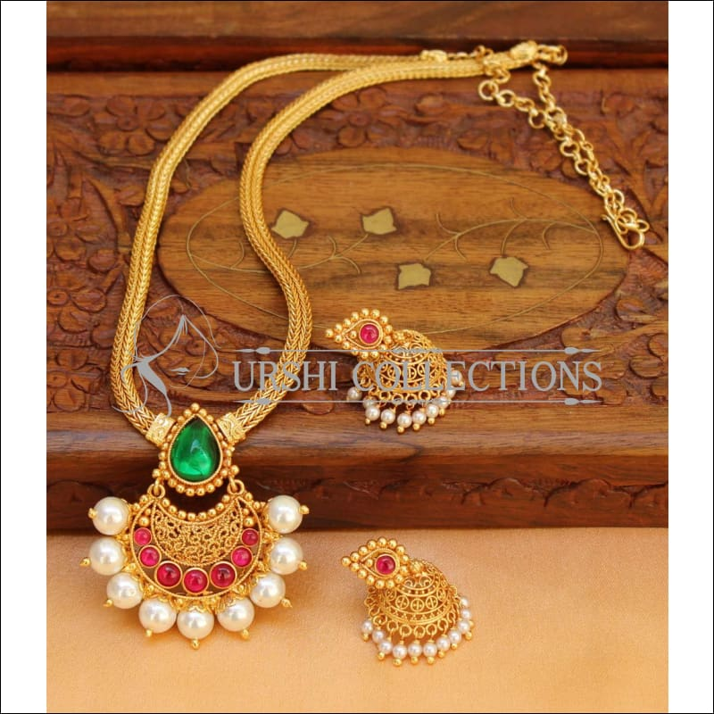 Designer Gold Plated Kempu Necklace Set UC-NEW220 - Multi - Necklace Set