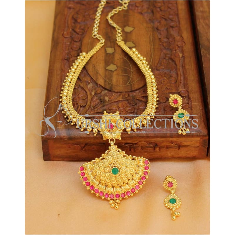 Designer Gold plated Kempu Necklace Set UC-NEW2740 - Necklace Set