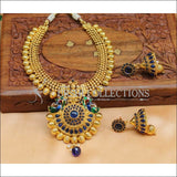 Designer Gold Plated Kempu Necklace Set UC-NEW714 - Blue - Necklace Set