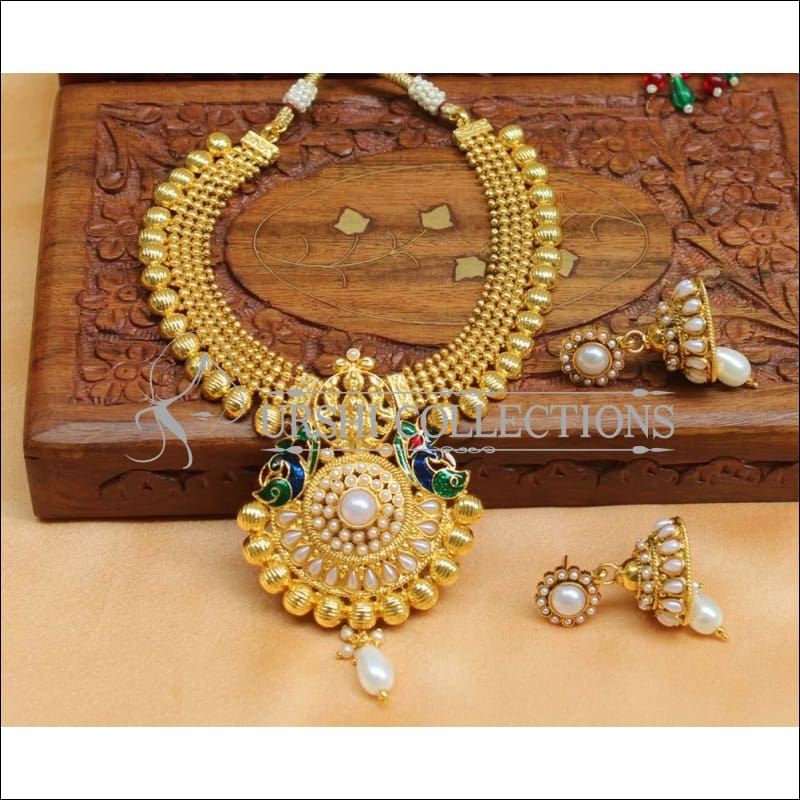 Designer Gold Plated Kempu Necklace Set UC-NEW714 - White - Necklace Set