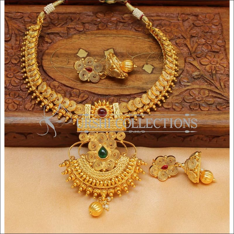 Designer Gold Plated Kempu Necklace Set UC-NEW728 - Multi - Necklace Set