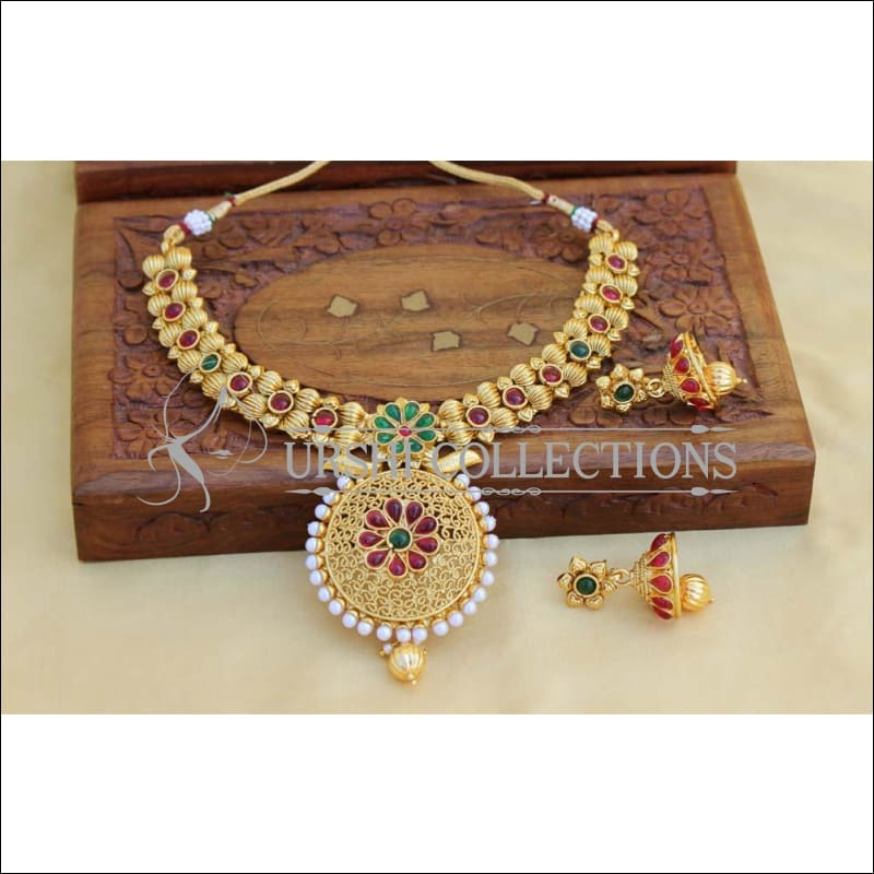 Designer Gold Plated Kempu Necklace Set UC-NEW752 - Multi - Necklace Set