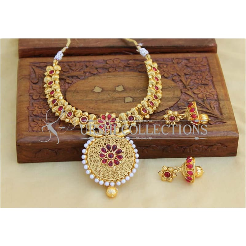 Designer Gold Plated Kempu Necklace Set UC-NEW752 - Red - Necklace Set