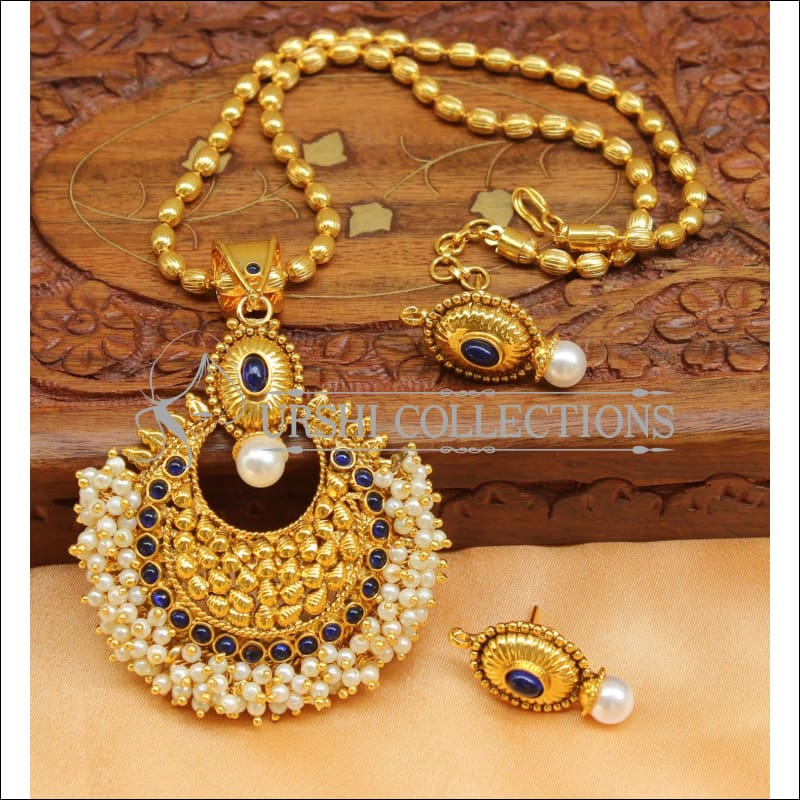 Designer Gold Plated Kempu Pendant Set UC-NEW2626 - Blue - Pendant Set