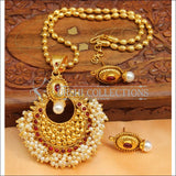 Designer Gold Plated Kempu Pendant Set UC-NEW2626 - Red - Pendant Set