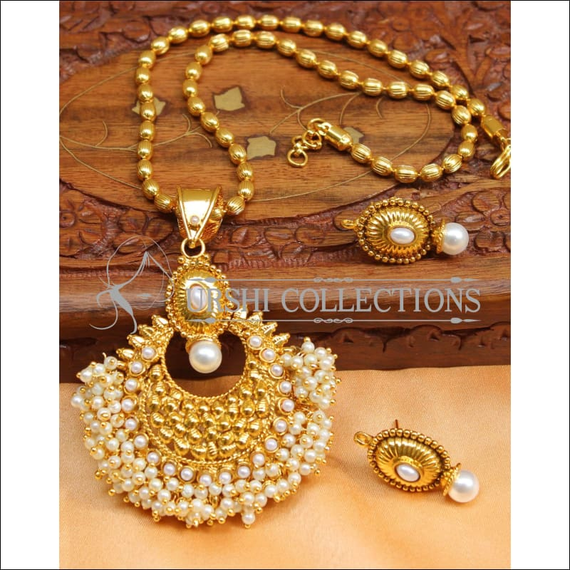 Designer Gold Plated Kempu Pendant Set UC-NEW2626 - White - Pendant Set