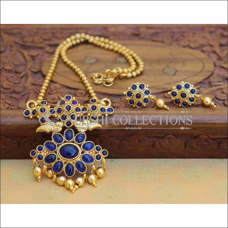 Designer Gold Plated Kempu Pendant Set UC-NEW2637 - Blue - Pendant Set