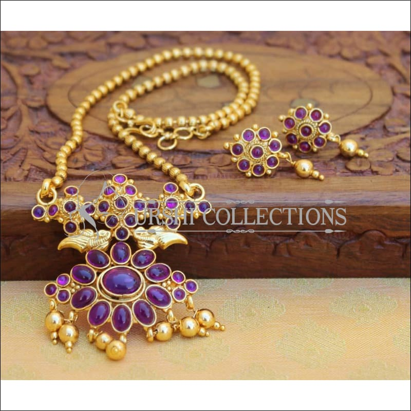 Designer Gold Plated Kempu Pendant Set UC-NEW2637 - Purple - Pendant Set