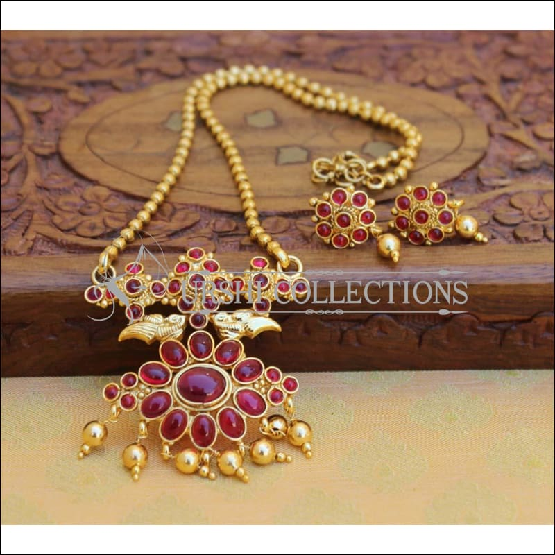 Designer Gold Plated Kempu Pendant Set UC-NEW2637 - Red - Pendant Set