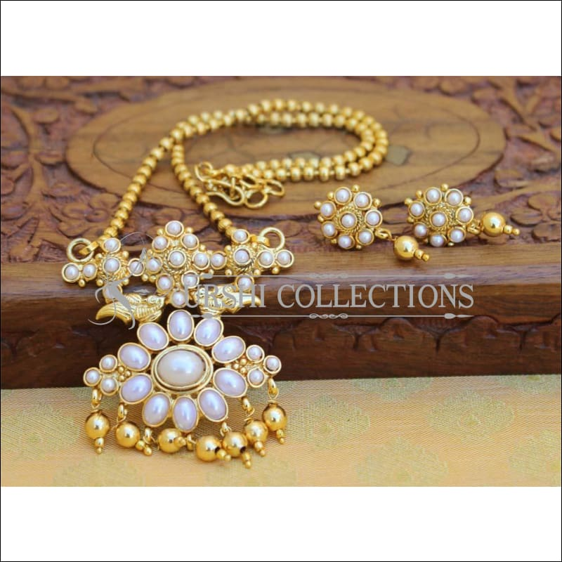 Designer Gold Plated Kempu Pendant Set UC-NEW2637 - White - Pendant Set