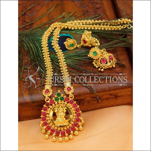 Designer Gold plated Lakshmi Necklace Set UC-NEW2743 - Green & Red - Necklace Set