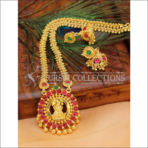 Designer Gold plated Lakshmi Necklace Set UC-NEW2743 - Red & Green - Necklace Set