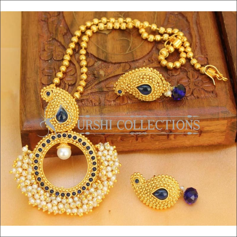 Designer Gold Plated Mango Pendant Set UC-NEW2707 - Blue - Pendant Set