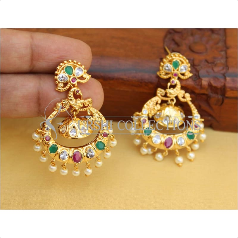 DESIGNER GOLD PLATED MULTI COLOUR PEACOCK EARRINGS UC-NEW 2826 - Earrings