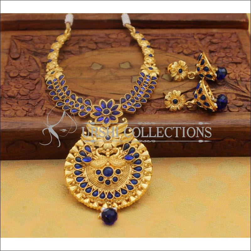 Designer Gold Plated Necklace Set UC-NEW108 - Blue - Necklace Set