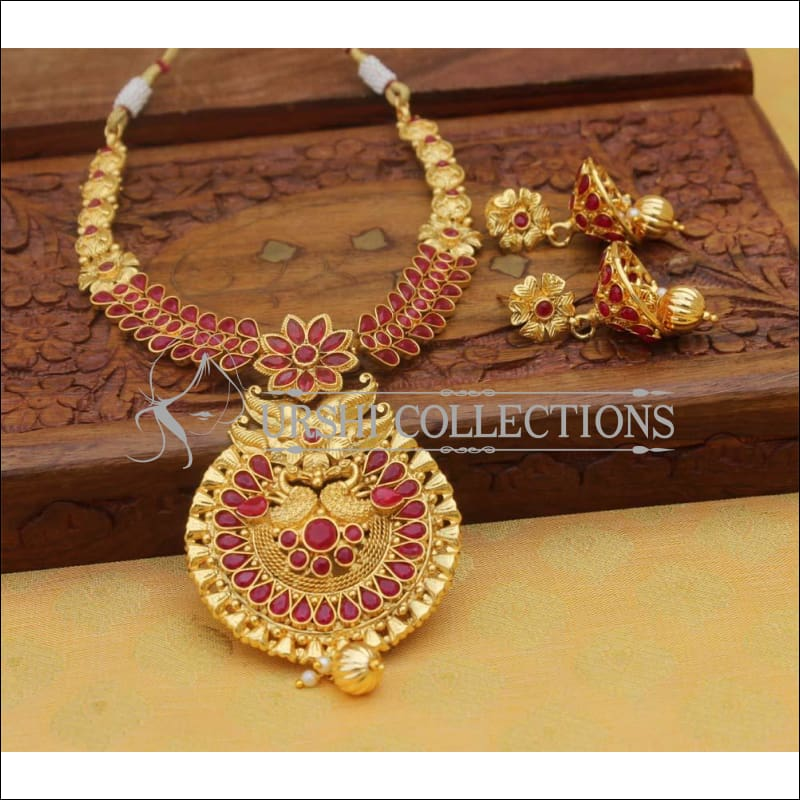 Designer Gold Plated Necklace Set UC-NEW108 - Red - Necklace Set