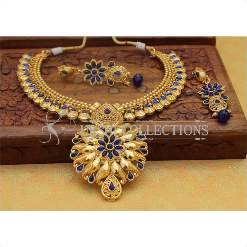 Designer Gold Plated Necklace Set UC-NEW112 - Blue - Necklace Set