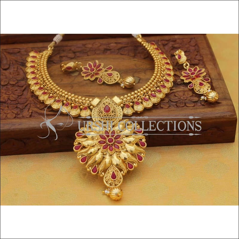 Designer Gold Plated Necklace Set UC-NEW112 - Red - Necklace Set