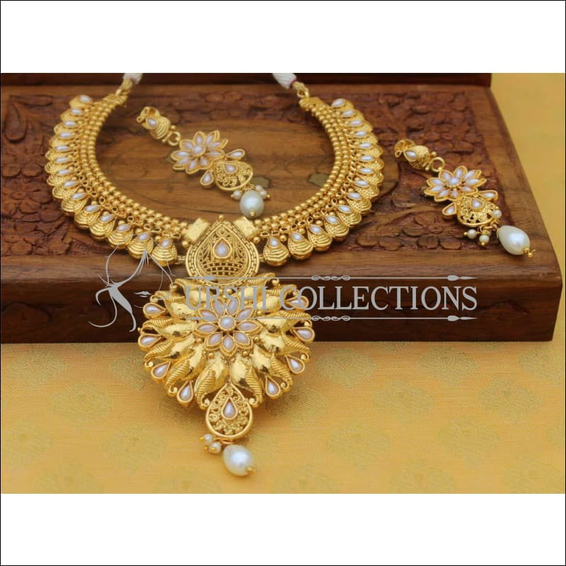 Designer Gold Plated Necklace Set UC-NEW112 - White - Necklace Set