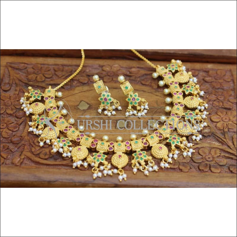 Designer Gold Plated Necklace Set UC-NEW546 - Ruby and Green - Necklace Set