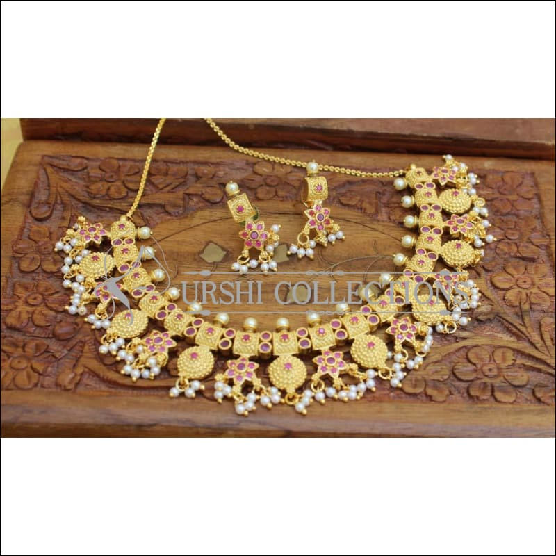 Designer Gold Plated Necklace Set UC-NEW546 - Ruby - Necklace Set