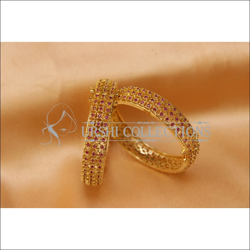 Designer Gold Plated Openable CZ Bangle Set UC-NEW1583 - Bangles
