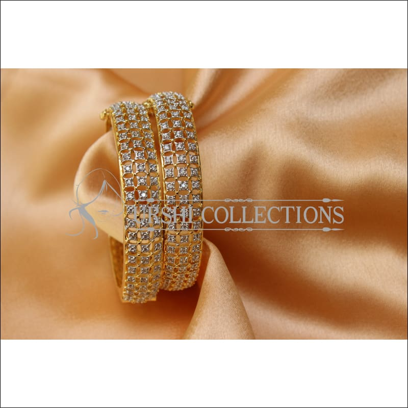 Designer Gold Plated Openable CZ Bangle Set UC-NEW1585 - Bangles