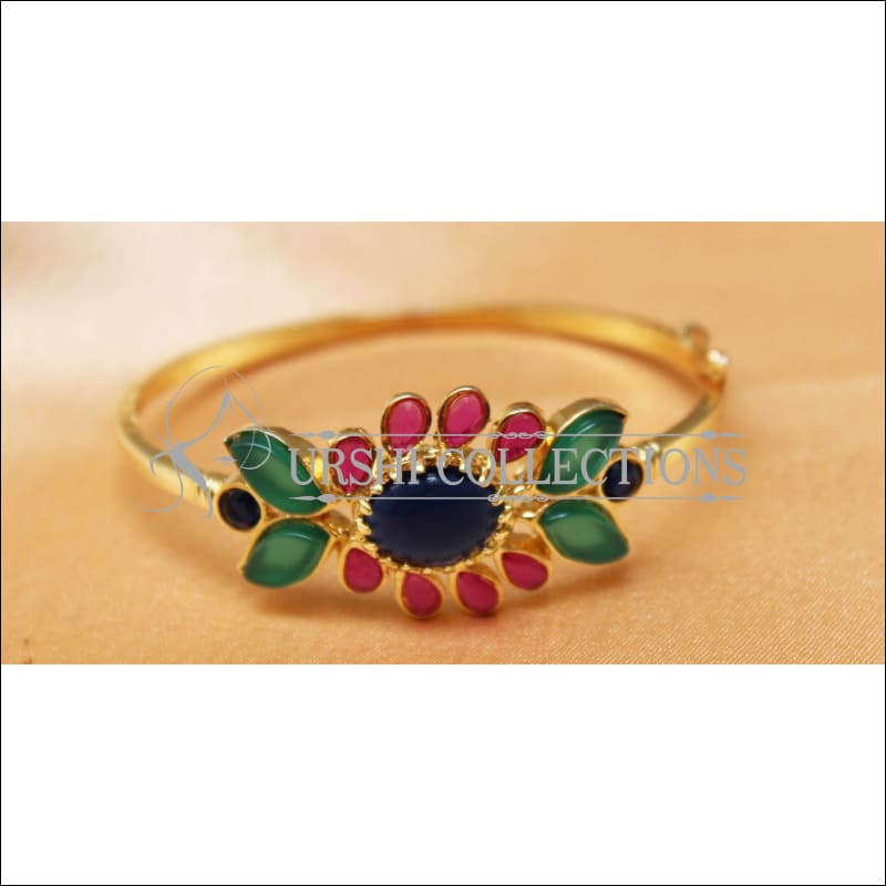Designer Gold Plated Openable Kada UC-NEW1719 - Blue & Pink & Red - Bracelets