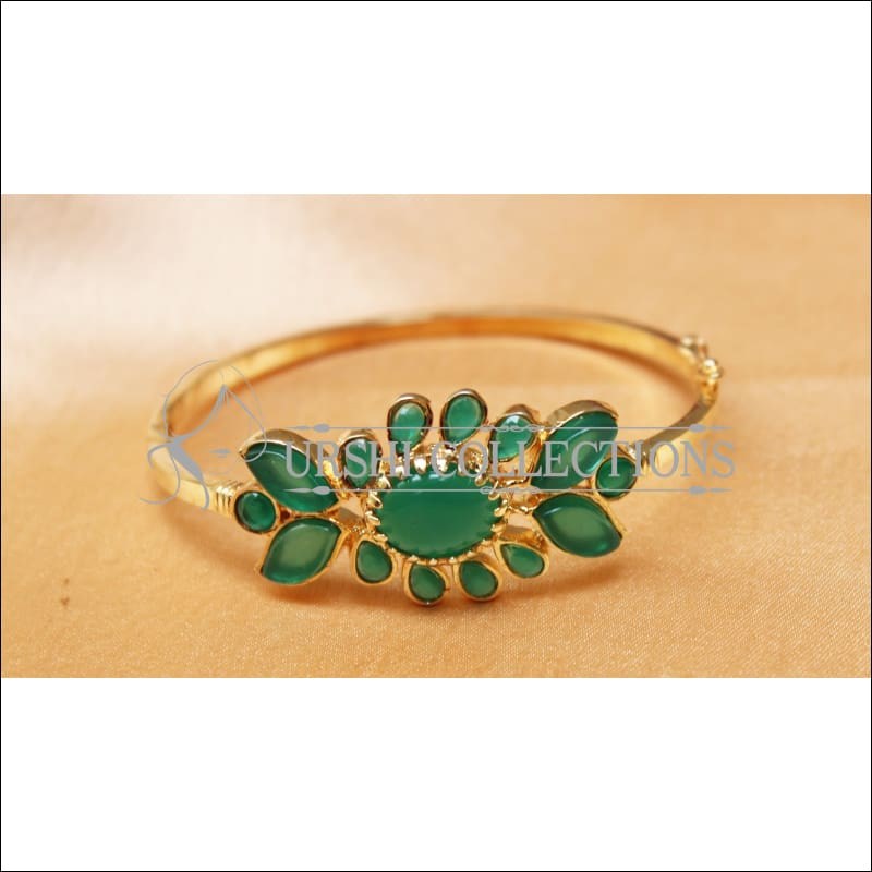 Designer Gold Plated Openable Kada UC-NEW1719 - Green - Bracelets