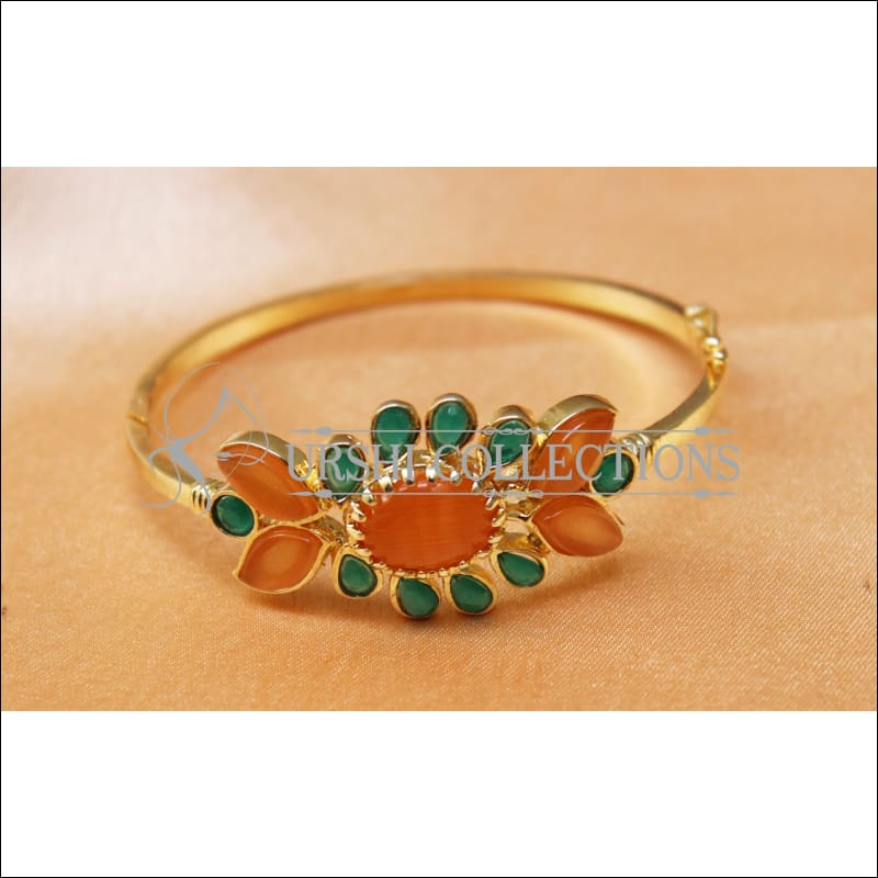 Designer Gold Plated Openable Kada UC-NEW1719 - Orange & Green - Bracelets