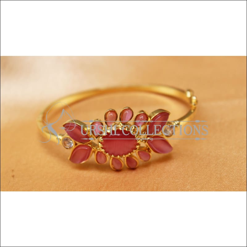 Designer Gold Plated Openable Kada UC-NEW1719 - Pink - Bracelets